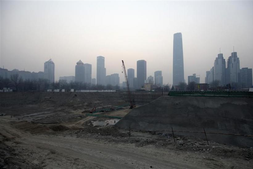 A construction site is seen in Beijing's central business district