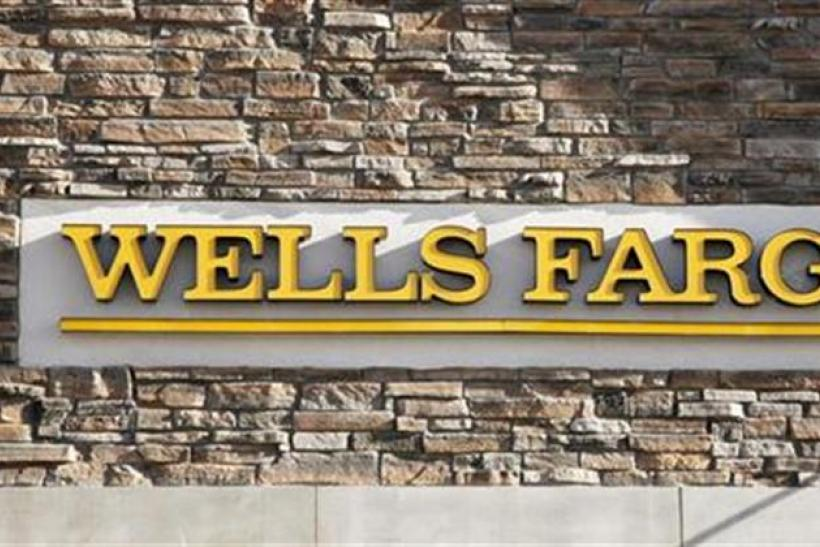 A Wells Fargo bank branch sign is pictured in Golden