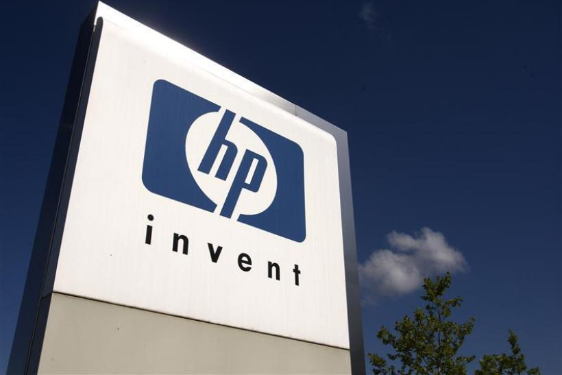HP Invent logo is pictured in front of Hewlett-Packard international offices in Meyrin near Geneva