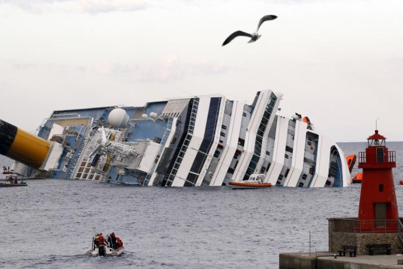 A view shows the Costa Concordia cruise ship that ran aground off the west coast of Italy, at Giglio island
