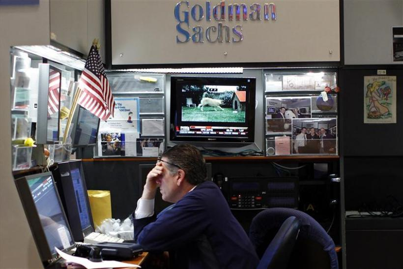 A trader works in the Goldman Sachs booth on the main trading floor of the New York Stock Exchange