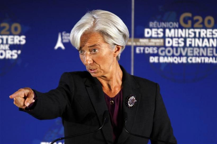IMF head Christine Lagarde gestures during a news conference at the G20 meeting at the ministry in Paris