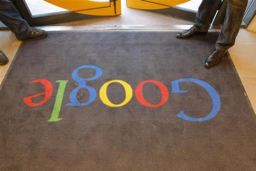 A Google carpet is seen at the entrance of the new headquarters of Google France before its official inauguration in Pari