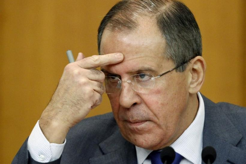 Russian Foreign Minister Lavrov gestures during a news conference in Moscow