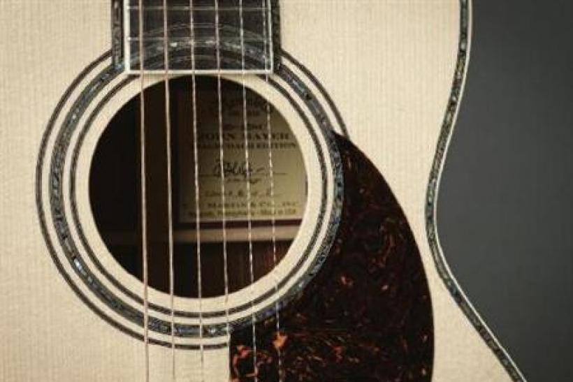 The fingerboard inlay on the 00-45SC, conceived by John Mayer, in an image courtesy of C.F. Martin and Co.