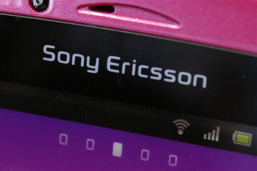 A Sony Ericsson logo on a smartphone is pictured at a mobile phone shop in Tokyo