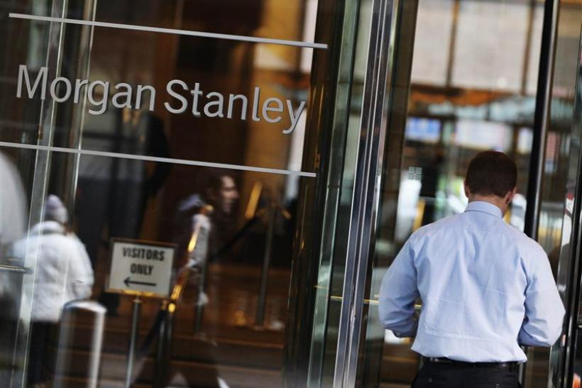 A man walks into the Morgan Stanley offices in New York