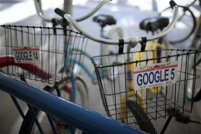 Bicycles for use by employees are lined up at the Google campus near Venice Beach, in Los Angeles