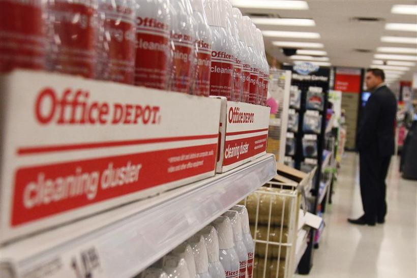 A man shops at an Office Depot store in New Yor