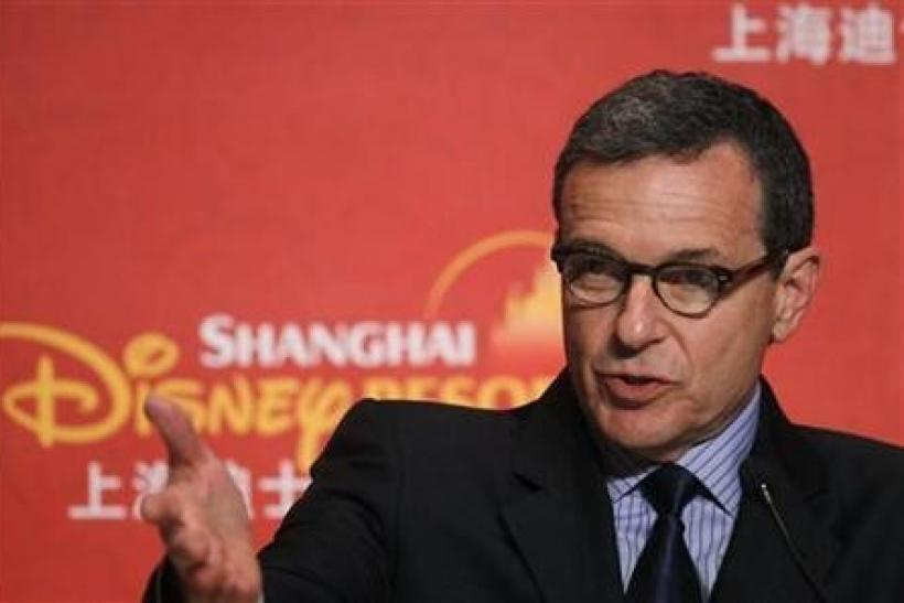 Robert Iger, president and chief executive officer of Walt Disney Co, speaks during a news conference after the ground breaking ceremony of the Shanghai Disneyland theme park in Pudong of Shanghai April 8, 2011.