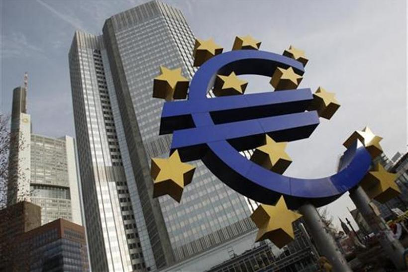 A sculpture showing the Euro currency sign is seen in front of the ECB headquarters in Frankfurt