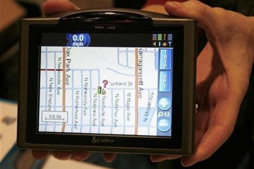 The Cobra Nav One 5000 portable mobile navigation system is displayed at the Consumer Electronics Show (CES) Unveiled event in Las Vegas, Nevada January 5, 2008.