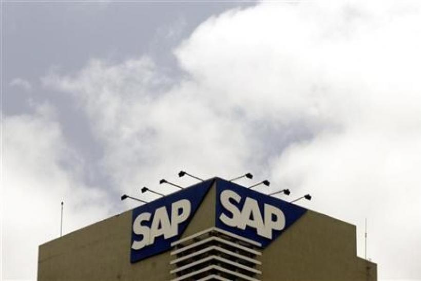 The SAP logo is seen on a building at the SAP India labs campus in Bangalore June 24, 2009.