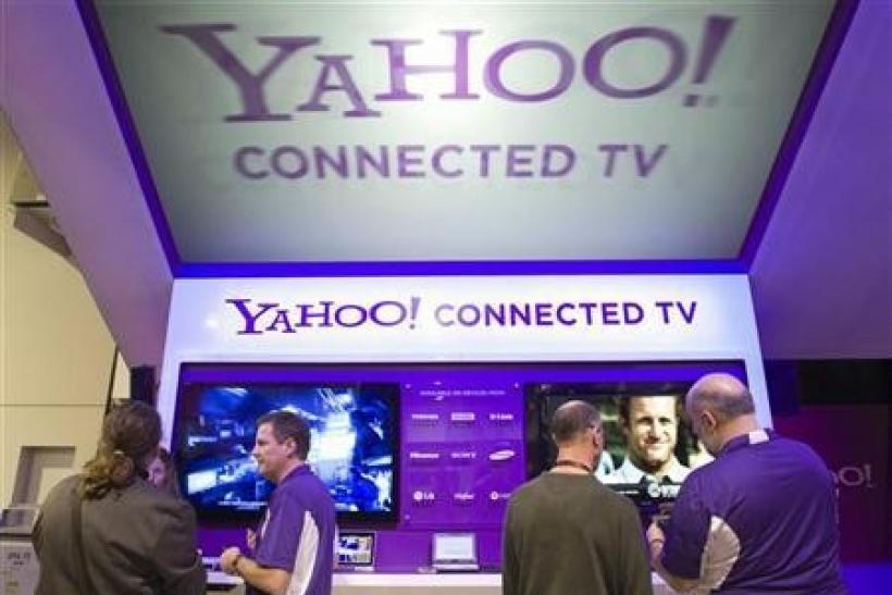 The Yahoo! Connected TV booth is shown during the 2011 International Consumer Electronics Show (CES) in Las Vegas, Nevada January 7, 2011.