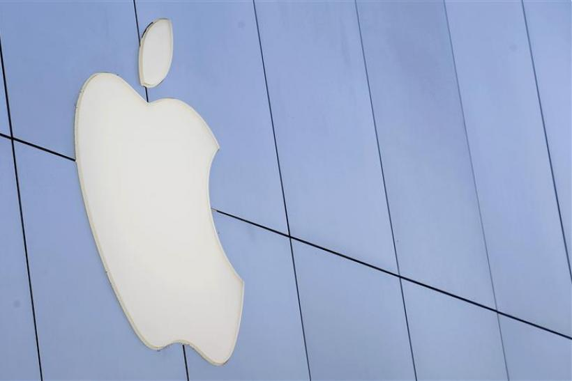 The Apple logo is pictured outside the Apple store in Santa Monica