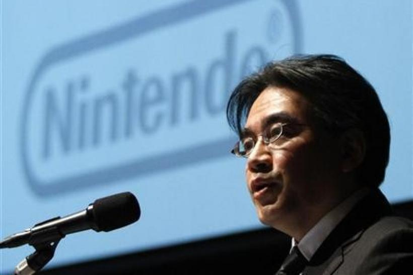 Nintendo Co President Satoru Iwata speaks during their strategy and earnings briefings in Tokyo January 27, 2012.