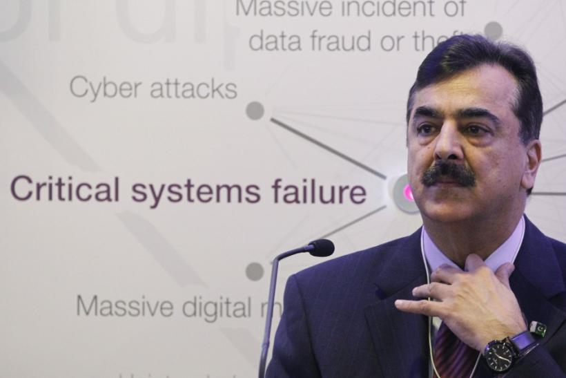 Pakistan Prime Minister Syed Yusuf Raza Gilani attends a session at the World Economic Forum (WEF) in Davos
