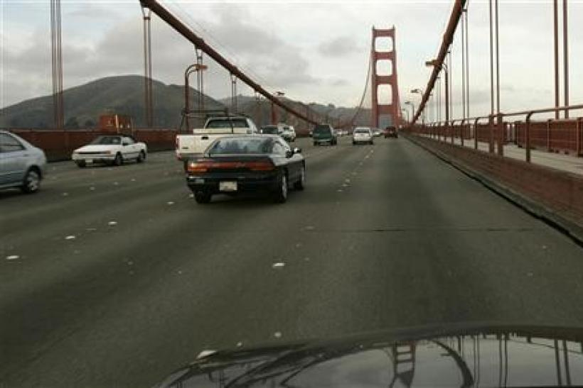 Vehicular traffic flows on the Golden Gate Bridge in San Francisco, California