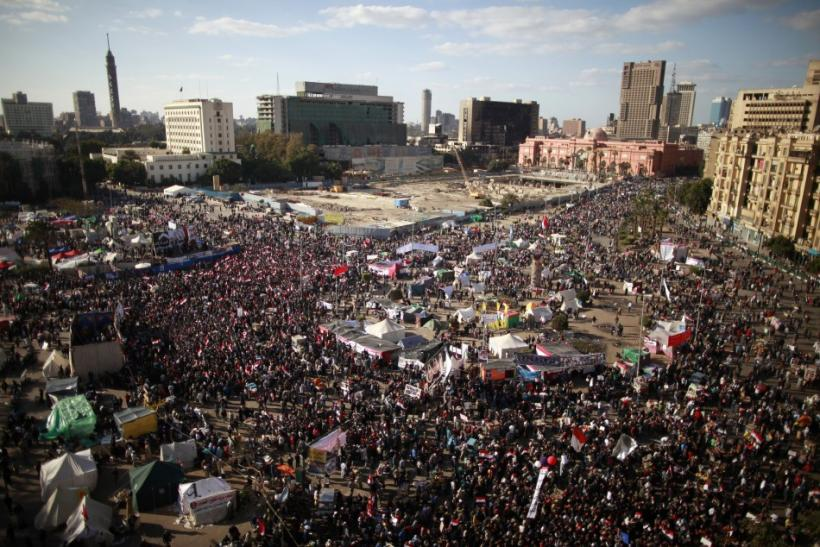 Demonstrators gather during a protest demanding the army to hand power to civilians at Tahrir square in Cairo January 27, 2012.