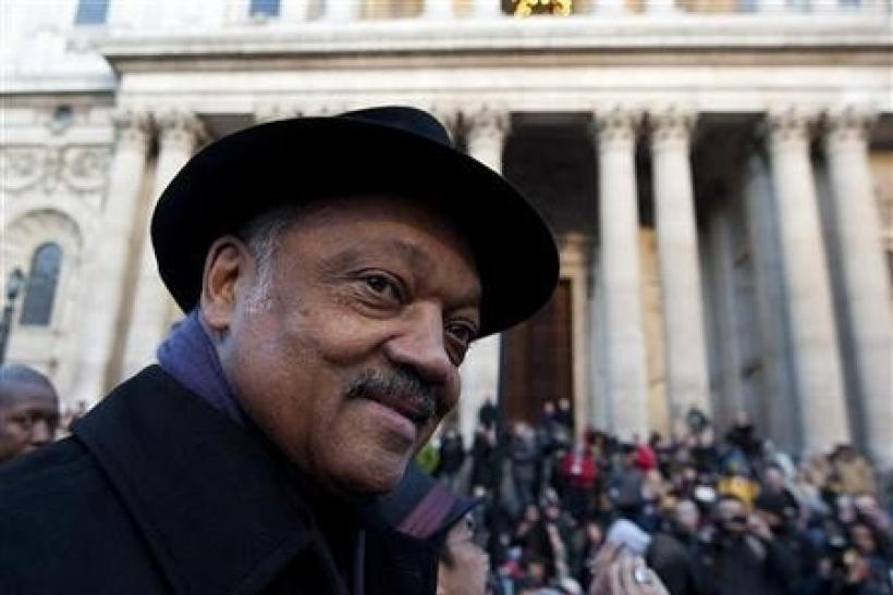 U.S. civil rights leader Reverend Jesse Jackson addresses the crowd at the Occupy London site outside St Paul's Cathedral