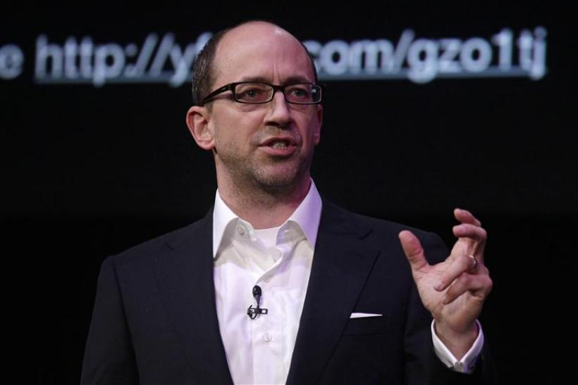 Twitter's Founder and CEO Dick Costolo gestures during a conference at the GSMA Mobile World Congress in Barcelona