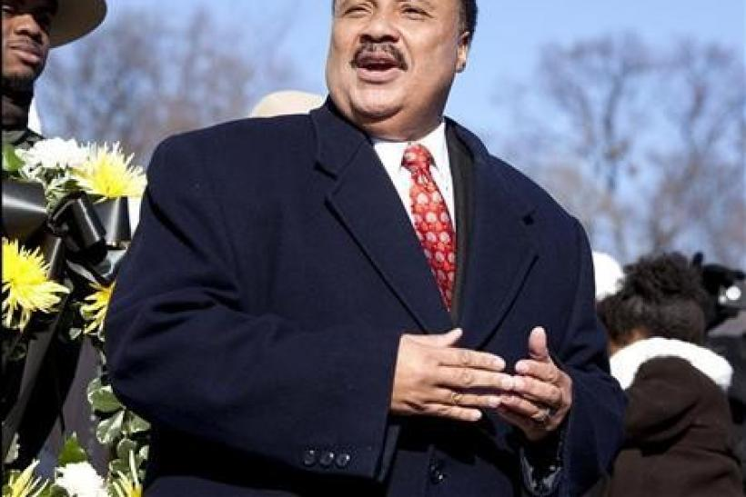 Martin Luther King III speaks at the Martin Luther King, Jr. memorial on the 83rd birthday of his father in Washington