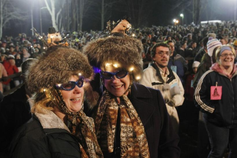 Shirley Moffat and Joanne Alexander of Plum, Pennsylvania wait for famed weather prognosticating groundhog Punxsutawney Phil