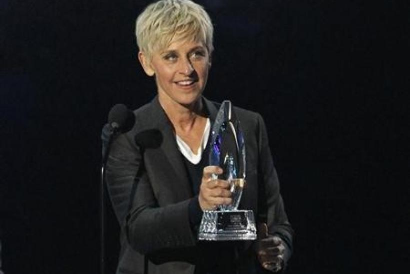 Television host Ellen DeGeneres accepts the Favorite Daytime TV Host award at the 2012 People's Choice Awards in Los Angeles
