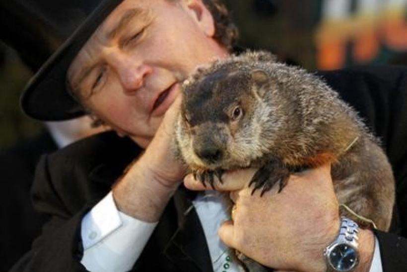 Groundhog handlerJohn Griffith with Punxsutawney Phil