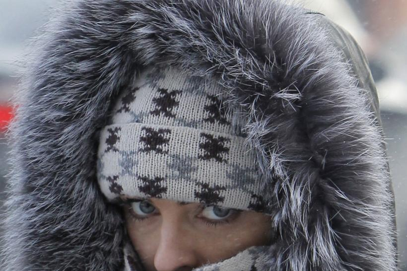 A woman dressed for the cold walks in an air temperature around minus 18 degree Celsius (minus 4 Fahrenheit) in central Kiev