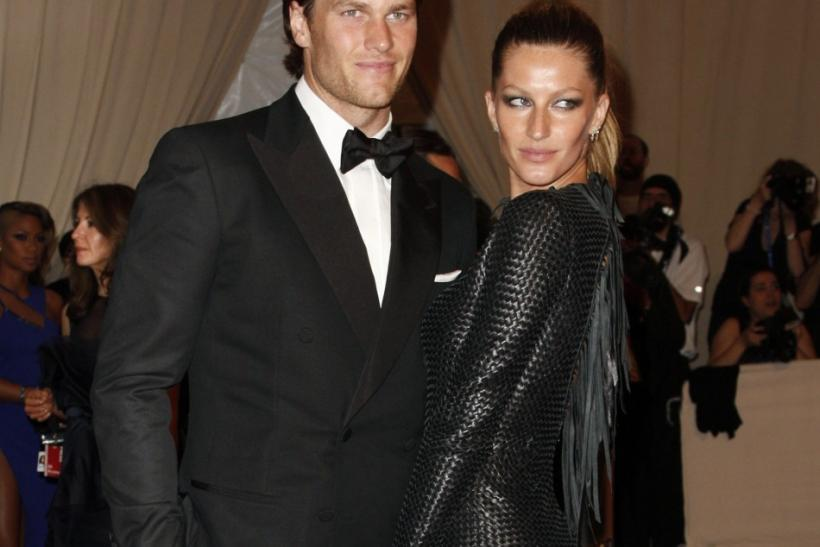 "New England Patriots quarterback Tom Brady and model Gisele Bundchen arrive at the Metropolitan Museum of Art Costume Institute Benefit celebrating the opening of ""American Woman: Fashioning a National Identity"" in New York"