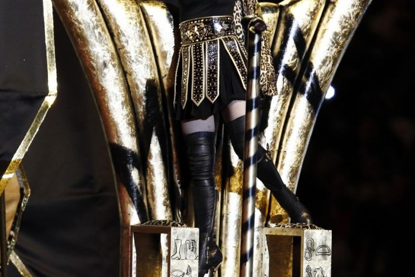 Madonna performs during the halftime show in the NFL Super Bowl XLVI football game in Indianapolis, Indiana, February 5, 2012.