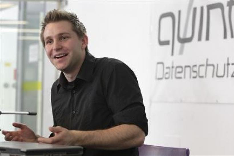 Law student Max Schrems briefs the media in Vienna February 7, 2012.
