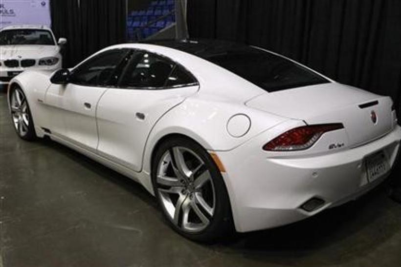 A Fisker Karma luxury plug-in hybrid car is seen at the sixth annual Alternative Transportation Expo and Conference (AltCar) in Santa Monica, California
