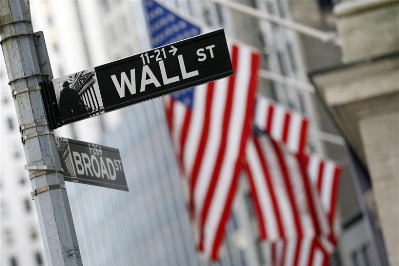 A Wall St. sign is seen outside the New York Stock Exchange
