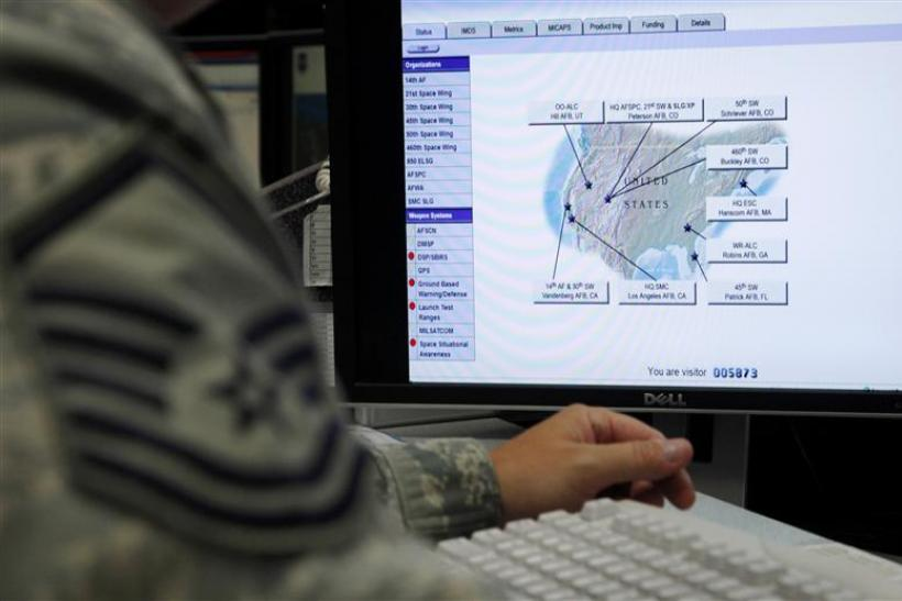 A map is displayed on one of the screens at the Air Force Space Command Network Operations & Security Center at Peterson Air Force Base in Colorado Springs