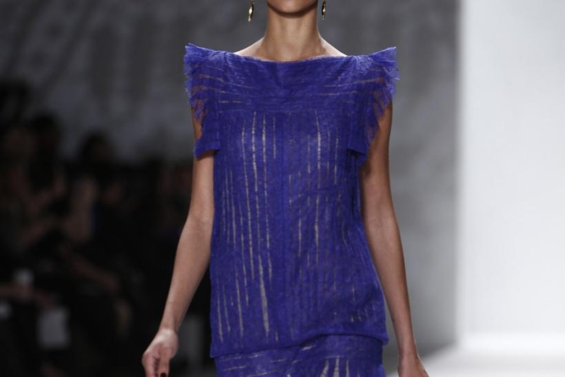 A model presents a creation during the Tadashi Shoji Fall/Winter 2012 collection show during New York Fashion Week, February 9, 2012.