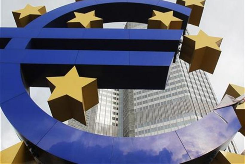 The Euro sculpture in front of the ECB headquarters