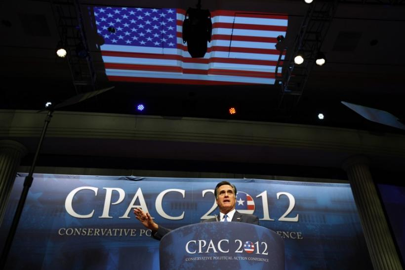 U.S. Republican presidential candidate and former Massachusetts Governor Mitt Romney addresses the American Conservative Union's annual Conservative Political Action Conference (CPAC) in Washington, February 10, 2012.