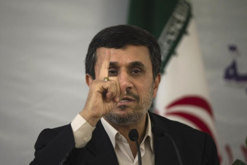 Iranian President Mahmoud Ahmadinejad gestures while speaking at the 25th International Islamic Unity Conference in Tehran February 8, 2012.