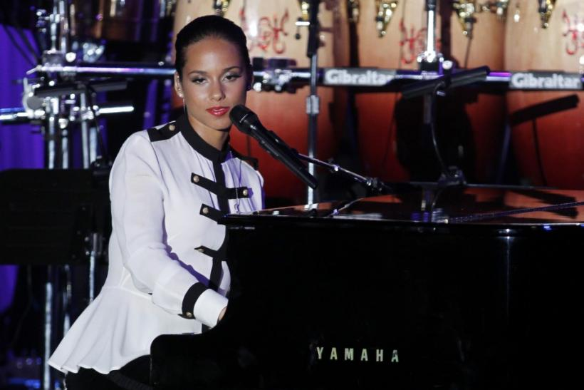 Singer Alicia Keys speaks about Whitney Houston before performing at the 2012 Pre-Grammy Gala & Salute to Industry Icons at the Beverly Hilton Hotel in Beverly Hills, California