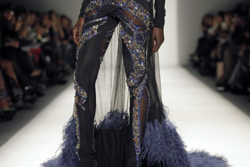 A model presents a creation from the Falguni and Shane Peacock Fall/Winter 2012 collection during New York Fashion Week February 12, 2012