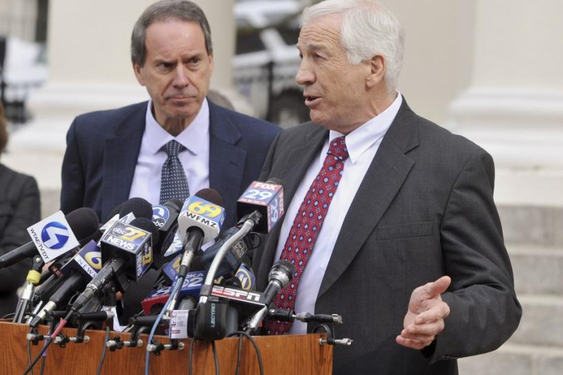 Jerry Sandusky addresses the media outside of the courthouse in Bellfonte, Penn.