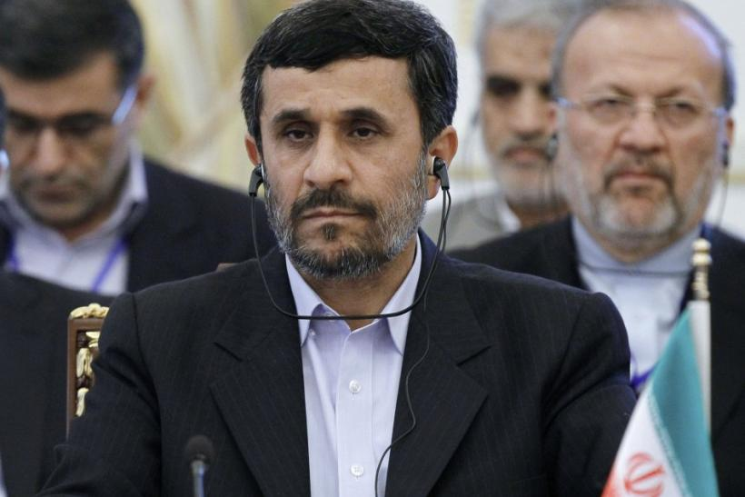 Iran's President Mahmoud Ahmadinejad attends the summit of Caspian Sea states in Baku