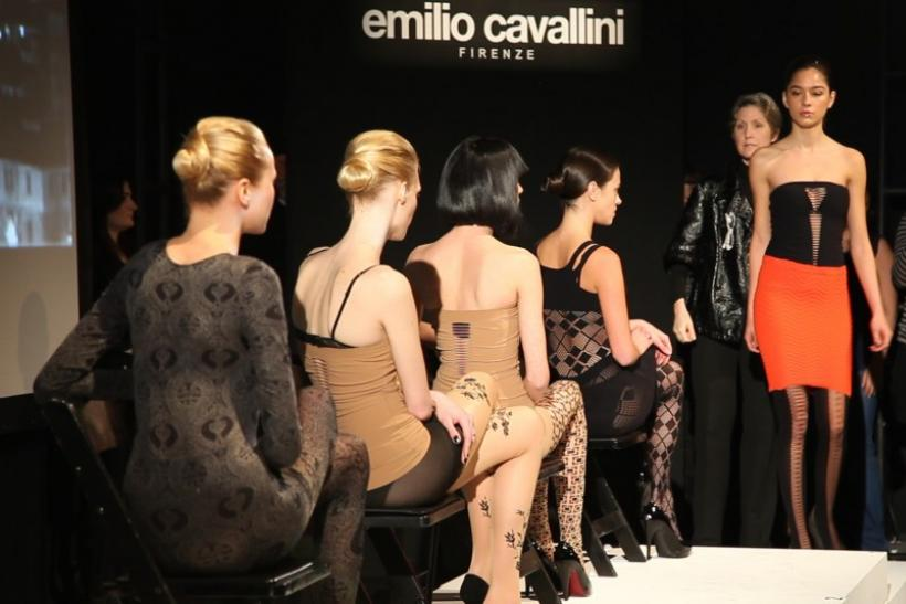Models present creations from the Emilio Cavallini Fall/Winter 2012 collection during New York Fashion Week February 13, 2012.
