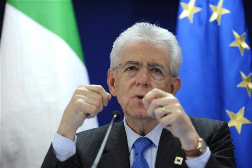 Italy's PM Monti addresses a news conference after an European Union summit in Brussels
