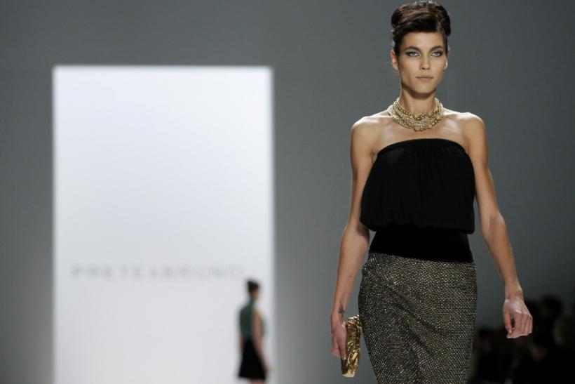 A model presents a creation from the Prete & Bruno Fall/Winter 2012 collection during New York Fashion Week