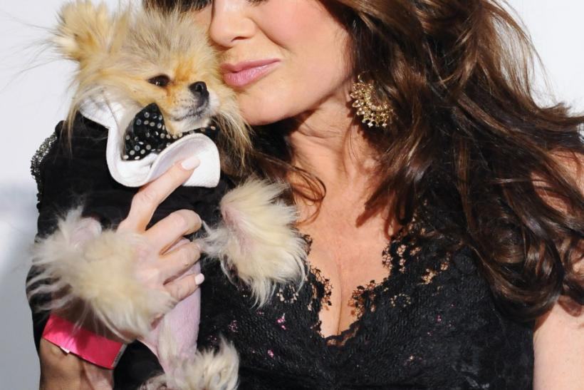 """Real Housewives of Beverly Hills"" star Lisa Vanderpump and her dog Giggy arrive at the first annual Golden Collar Awards celebrating Hollywood's most talented canine thespians from Oscar nominated films and Emmy Award winning television shows i"