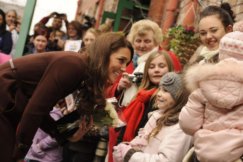 Britain's Catherine Duchess of Cambridge greets children during a vist to Alder Hey Hospital in Liverpool, northern England