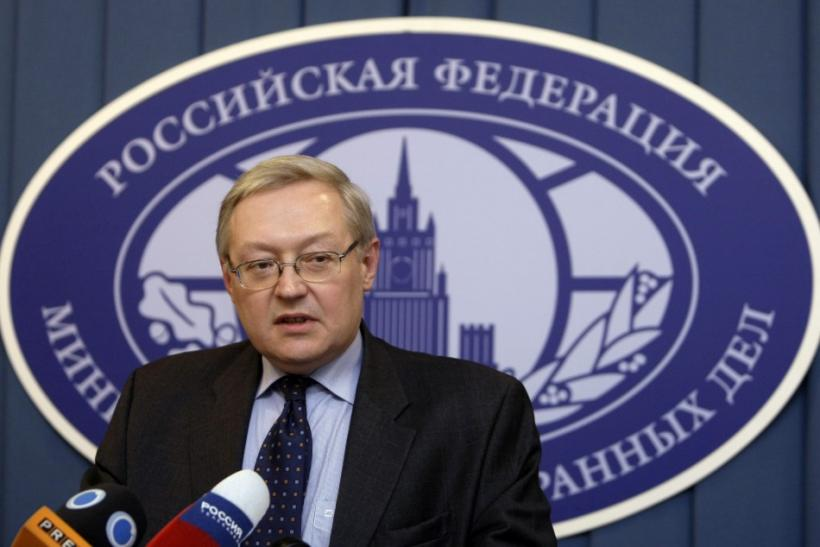 Russia's Deputy Foreign Minister Sergei Ryabkov speaks during a news briefing in Moscow